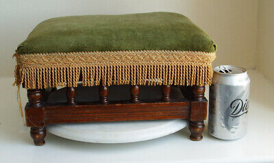 Vintage Small Walnut  Rectangular Footstool~ Green Draylon