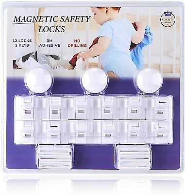 New Baby & Child Proof Magnetic Safety Locks for Cabinets & Drawers - 12 Locks