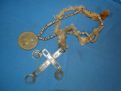 Native American Indian Trade Silver Cross & Jefferson Peace Medal Necklace