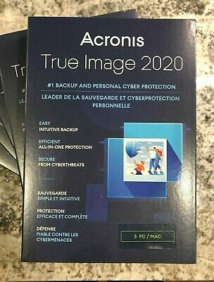 NEW Acronis True Image 2020 - 3 Computer PC/Mac Backup & Recovery  - Free Ship