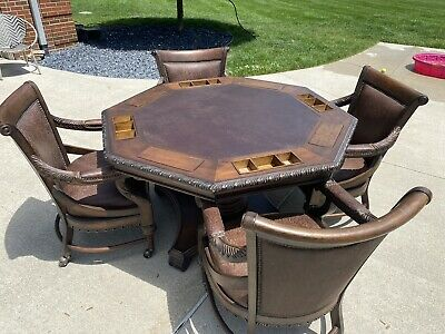 Hillsboro Poker Table By T.S. Berry Real Leather