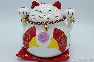 Japanese Feng Shui Maneki Neko Beckon Lucky Cat Wave Both Paw Ceramic Piggy Bank