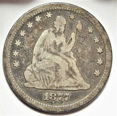 1877-S Seated Liberty Quarter Choice Fine F+ San Francisco Silver 25c Type Coin