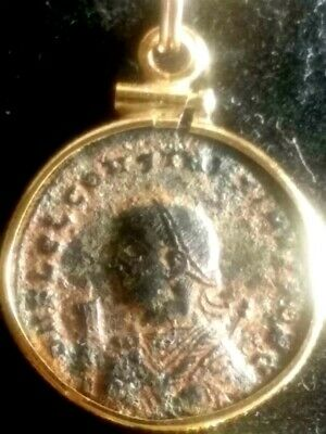 Constantine II Red Sandy Genuine Ancient Roman Coin Gold-Filled Pendant Necklace