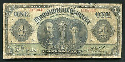 DC-18d 1911 $1 ONE DOLLAR THE DOMINION OF CANADA BANKNOTE