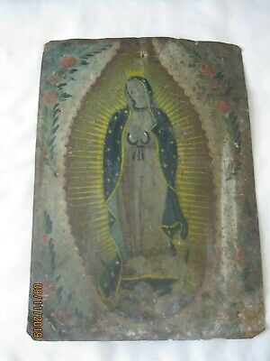 Original Antique Retablo On Tin Our Lady Of Guadalupe 10'' By 14''