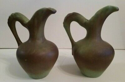 Antique Pitcher Ewer Pottery Stone Stoneware Brown Turquoise Green PAIR Large 9""
