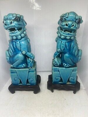 """Antique porcelain foo dogs hand painted pair turquoise 10"""" H"""