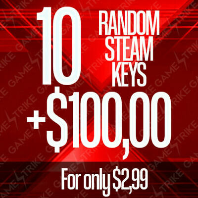 10 Random Steam Keys + BONUS | +$100,00 USD Worth | Region Free | PROFIT