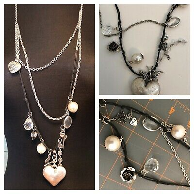 Silver Tone Metal Cord Charm Charms Necklace - Love Heart Key Faux Pearl Bird