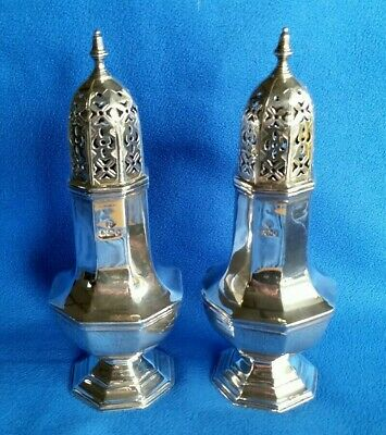 1900 Victorian UK Hallmarked Solid Sterling Silver Pair of Sugar Sifters Shakers