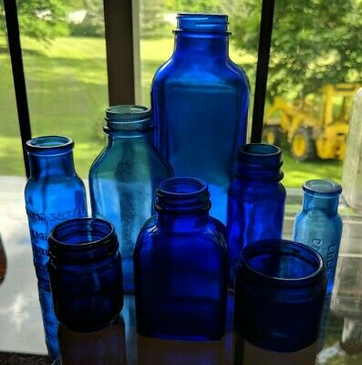 Lot Cobalt Blue Colored Glass Bottles Bromo Seltzer Phillips Vicks Salvitae NY