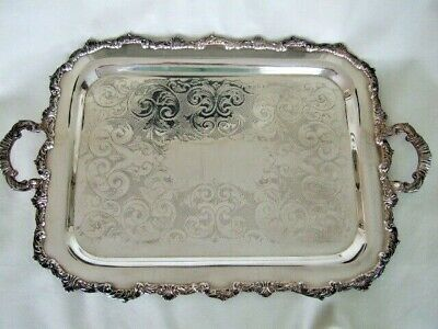 Large rectangular footed silverplate butler's tray with handles