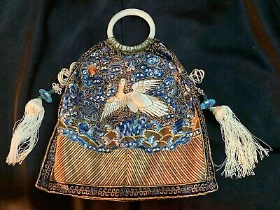 Antique Chinese Embroidery Egret Bag, Sixth Rank Civil Official Qing Bangle MINT
