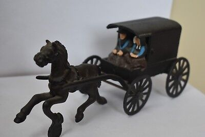 Antique Cast Iron Horse & Buggy Toy w/ Amish Family~ Moving Wheels