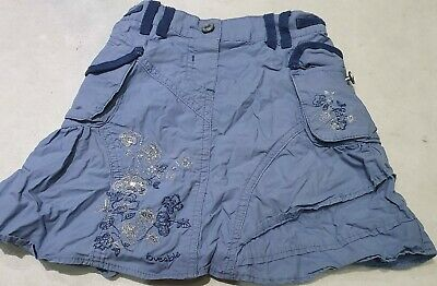 Girls Blue Silver Flower Sparkle/sequin Skirt With Pockets/loveable,next,2-3yrs