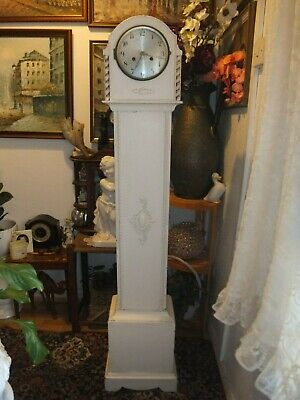 Antique Vintage White Painting Granddaughter Striking Clock