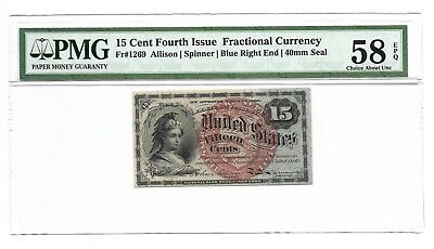 15 CENTS FRACTIONAL CURRENCY 4th ISSUE PMG CHOICE AB UNCIRCULATED 58 EPQ FR-1269