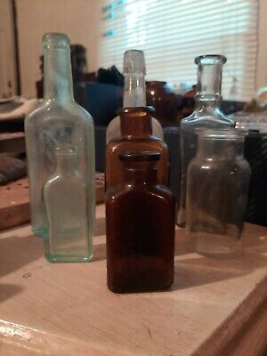 Misc Vintage Glass Medicine Bottles 2 amber brown and 5 clear glass