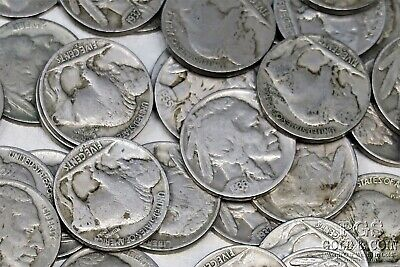 100 Buffalo Nickels 5c G VF Assorted Date Circulated US Coins $5.00 18482