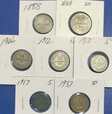 1888-1937 Bulgarian Set of 7 Assorted Carded Coins!