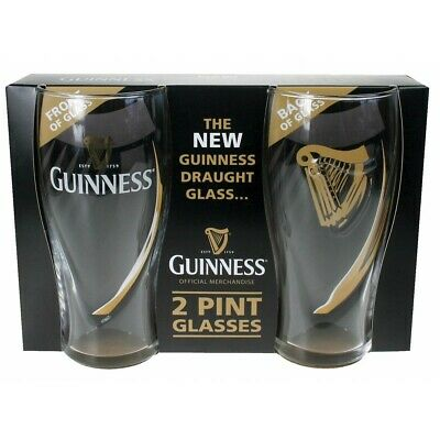 GUINNESS EMBOSSED PINT GLASSES 2 PACK WITH HARP 20 oz OFFICIALLY LICENSED