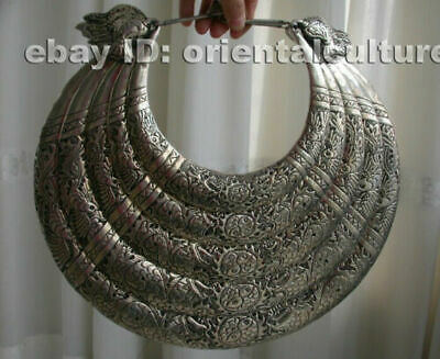 Big Vintage Exotic Handmade Carved Miao Silver 5rings double dragons Necklace