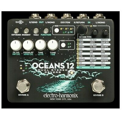 Electro-Harmonix Oceans 12 Dual Stereo Reverb Guitar Effects Pedal