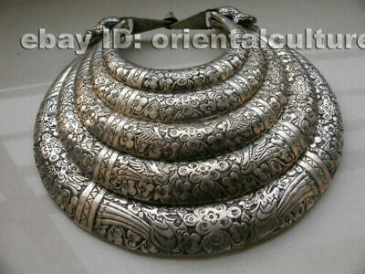 Big Vintage Exotic Handmade Carved Miao Silver 5rings pheonix flower Necklace