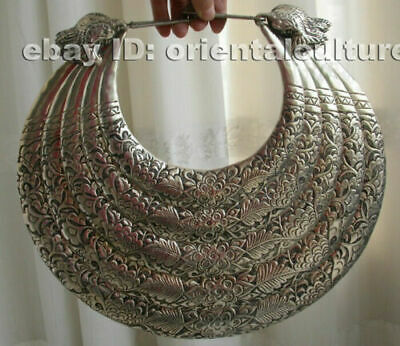 Big Vintage Exotic Handmade Carved Miao Silver 5rings leaves flower Necklace