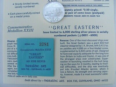 1966 #23 Great Eastern Commemorative .925 Sterling Silver Heraldic Art Medal