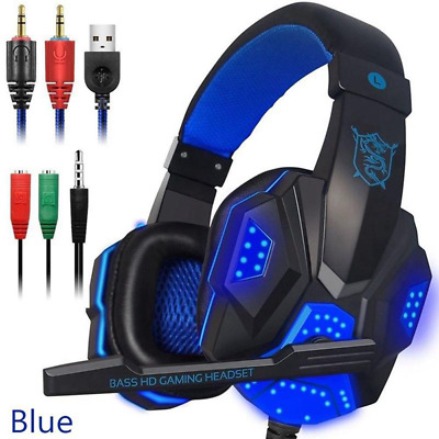 Headphones for PS4 Xbox Nintendo Switch PC 2.2mm STEREO Mic LED Gaming Headset