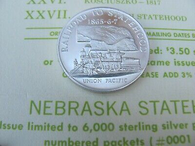 #25 Nebraska Statehood Commemorative .925 Sterling Silver Heraldic Art Medal