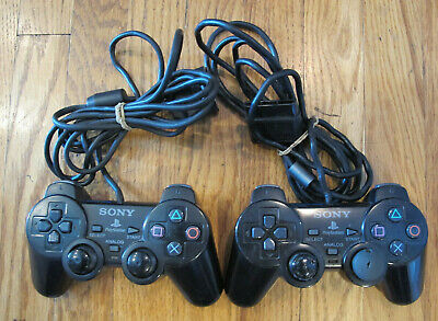 2x Sony Playstation 2 OEM Analog controller SCPH-10010 PS2 Dualshock 2 - Tested