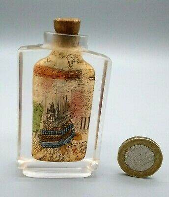 Antique Vintage Chinese Reverse Inside Painted Double Sided Glass Snuff Bottle