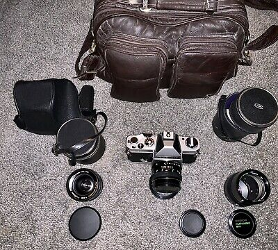 Chinon C2 Camera With 3 Lenses. Immaculate Condition.A Time Capsule With Manuals