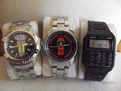 mens watches LAMBHORGHINI,  N.H.R.A.drag racing , and CASIO CALCULATOR