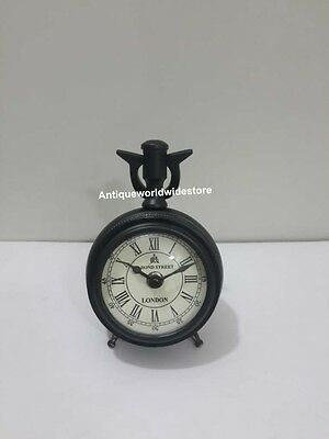 Vintage Nautical Desk Clock With Black leather Home Decorative