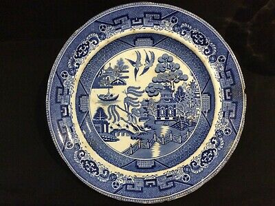 """Antique Blue Willow Pattern Plate """"Warranted Staffordshire"""" - 10"""""""