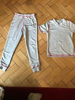 Girls Thermal Grey And Pink Underlayer Skiing Aged 7-8years