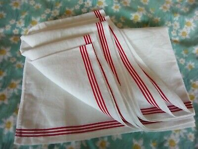 True Vintage Pure Linen Towel Roll with Red Stripes ~ Very Long! 256cm/43cm