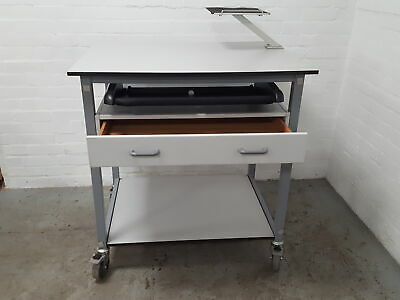Multifunctional Trolley Table with Shelves and Drawer Lab