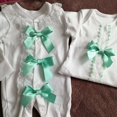 Newborn Baby Girls Babygrow And Vest Set Mint Green Bows Frilly Lace Romany