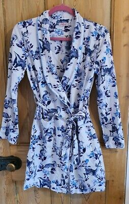 Cath Kidston Cotton Summer Dressing Gown Ivory Blue Woodland Animal Print XS
