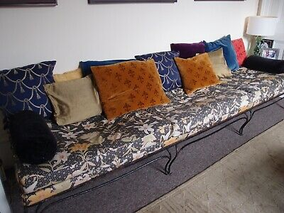 Antique French Chaise Longue Sofa. Backless. Large cushions with Wrought Iron