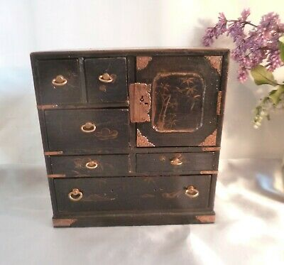 Stunning Vintage/Antique Miniature Japanese Lacquered Tansu