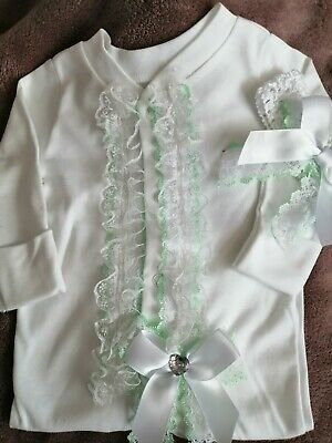Newborn Baby Girls Babygrow And Headband Set Pretty Frilly Lace Bows Mint Green