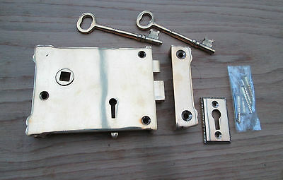 Dual handed Solid Brass Vintage Victorian Style Rim door Lock Latch Fancy