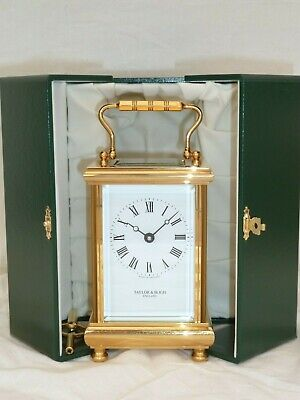 Taylor & Bligh 8 Day Gold Plated Brass Carriage Mantle Clock + Display Case
