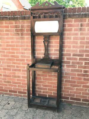 Hat coat stand hallstand with mirror & hooks, Antique Edwardian good condition